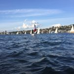 Robert Dall sailing Martha the Minto - Seattle Duck Dodge Sailboat Race in a Minto on July 16, 2019