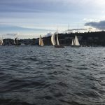 Kemp's Red Thunderbird under Spinnaker - Seattle Duck Dodge Sailboat Race in a Minto on July 16, 2019