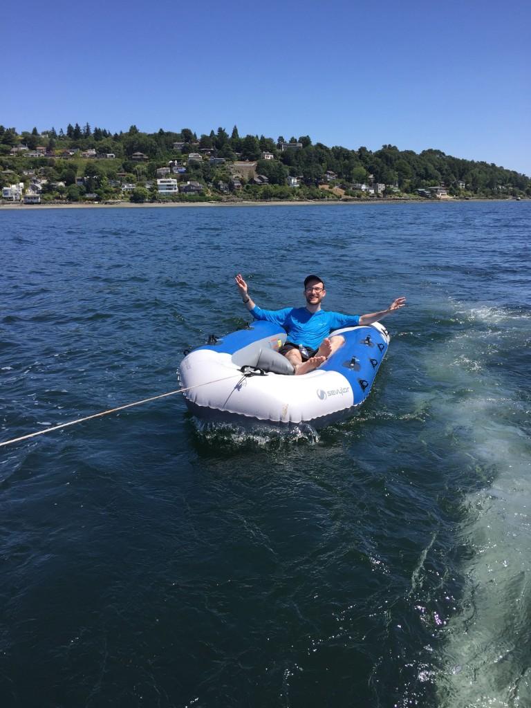 """Jason """"tubing"""" at 2 knots"""