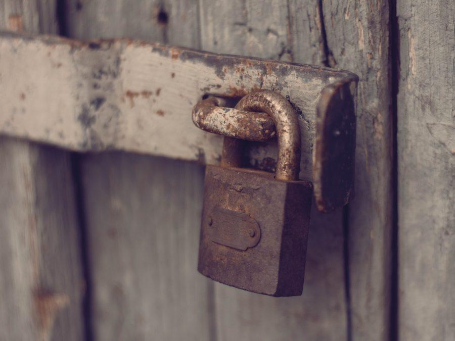 Lock attached to door